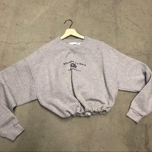 Western Illinois drawstring crop sweatshirt
